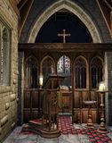 Soporte de libro de madera en una iglesia stock de ilustración