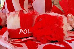 Soporte de los accesorios de las fans del polaco en frente Fotos de archivo libres de regalías