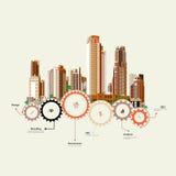 Soporte de los rascacielos en los engranajes Imagen de archivo libre de regalías