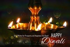 Soporte de oro del diya en el fondo abstracto de Diwali imagen de archivo libre de regalías