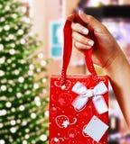 Soporte de un regalo de la Navidad Fotos de archivo libres de regalías