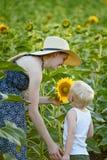 Soporte del hijo de la madre y del bebé e inhalar el olor del girasol en el fondo de un campo floreciente fotos de archivo libres de regalías