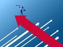 Soporte del hombre de negocios en gráfico del crecimiento de la flecha en la dirección opuesta usando el telescopio que busca éxi libre illustration