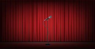 Soporte del micrófono en etapa con el fondo rojo de la cortina stock de ilustración