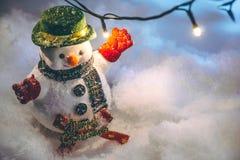 Soporte del muñeco de nieve en la pila de nieve Imagen de archivo libre de regalías