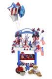Soporte del vendedor en rojo, blanco y azul Fotografía de archivo