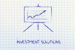 Soporte del whiteboard de la sala de reunión con el gráfico positivo del stats Fotografía de archivo libre de regalías