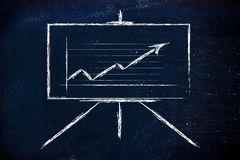 Soporte del whiteboard de la sala de reunión con el gráfico positivo del stats Imagen de archivo libre de regalías