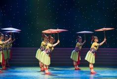Soporte el papel de aceite paraguas-ella danza popular aduana-china de la nacionalidad Imágenes de archivo libres de regalías