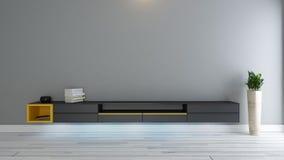 Soporte negro de la TV con la planta Fotografía de archivo