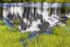 Soporte Shuksan Washington los E.E.U.U. de los árboles de hoja perenne del lago picture Fotos de archivo libres de regalías
