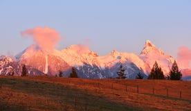 Soporte Slesse en la puesta del sol Imagen de archivo