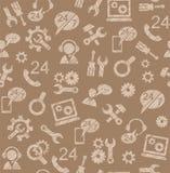 Soporte técnico, reparación, ayuda, modelo inconsútil, marrón, coloreado, lápiz que trama, vector Fotografía de archivo libre de regalías