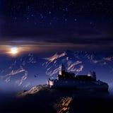 Soportes y castillo debajo de las estrellas