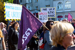 Sopot, Польша, 2016 09 24 - опротестуйте против закона fo анти--аборта Стоковые Фотографии RF