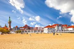 Sopot Baltic beach. Baltic beach with beautiful architecture of Sopot, Poland Stock Images