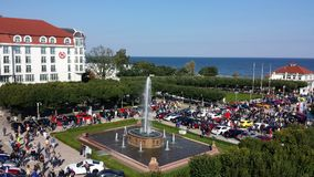 Sopot from bird`s eye view, Poland. Sopot, Poland - September 30, 2017: View of Sopot resort from the bird`s eye view. Car rally in front of pier Molo and lots Royalty Free Stock Photos