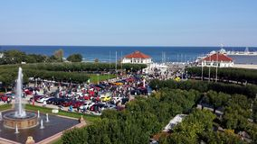 Sopot from bird`s eye view, Poland. Sopot, Poland - September 30, 2017: View of Sopot resort from the bird`s eye view. Car rally in front of pier Molo and lots Stock Photos