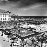 Sopot cityscapesikt Konstnärlig blick i svartvitt Arkivbild