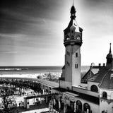 Sopot cityscapesikt Konstnärlig blick i svartvitt Arkivfoto