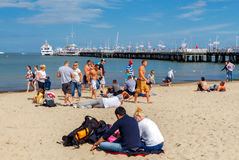 Sopot. The famous Polish resort town. Sopot, Poland - August 1, 2015: Many tourists on the sandy beach of the Baltic Sea in Sopot. It is a popular holiday Stock Photos