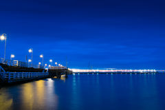 Sopot jetty at nigh side view. Sopot jetty at nigh - side view. Pomerania, Poland stock photography