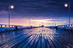 Sopot jetty at night. Pomerania; Poland royalty free stock image