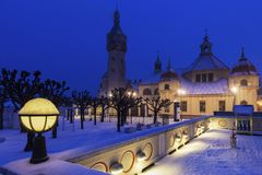 Sopot Lighthouse in winter scenery. Sopot, Pomerania, Poland royalty free stock photography