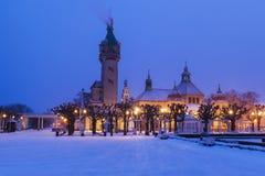 Sopot Lighthouse in winter scenery. Sopot, Pomerania, Poland stock image