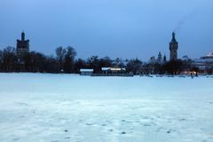Sopot Lighthouse in winter scenery. Sopot, Pomerania, Poland royalty free stock photo