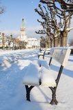 Sopot Lighthouse in winter scenery. Sopot, Pomerania, Poland royalty free stock images