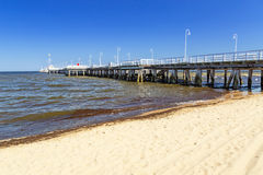 Sopot molo - the longest wooden pier in Europe. Poland Stock Photos