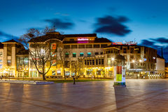 Sopot at night. Night view of Sopot with many shops, clubs, galleries, on April 14, 2016 in Sopot, Poland Royalty Free Stock Photography