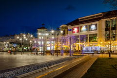 Sopot at night. Night view of Sopot with many shops, clubs, galleries, on April 14, 2016 in Sopot, Poland Royalty Free Stock Photo
