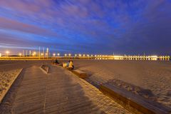 The Sopot pier by Baltic Sea pier at dusk. Poland stock photos