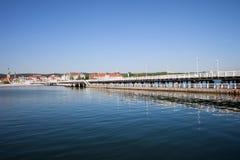 Sopot Pier on Baltic Sea in Poland. Pier in resort town of Sopot in Poland, Baltic Sea bay, popular tourist vacation destination stock photos