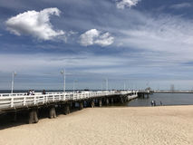 Sopot pier and beach. In Poland royalty free stock photography