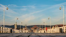 The Sopot Pier and beautiful cityview/cityscape of Sopot, Poland. Amazing sunrise royalty free stock photo