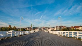 The Sopot Pier and beautiful cityview/cityscape of Sopot, Poland. Amazing sunrise royalty free stock images