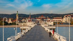 The Sopot Pier and beautiful cityview/cityscape of Sopot, Poland. Amazing sunrise royalty free stock photography