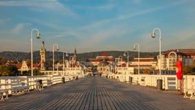 The Sopot Pier and beautiful cityview/cityscape of Sopot, Poland. Amazing sunrise royalty free stock image