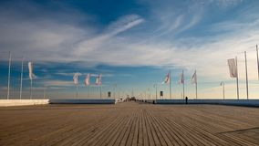 The Sopot Pier in the city of Sopot. The pier is the longest wooden pier in Europe. Beautiful sunrise stock photo