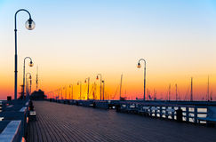 Sopot pier at dawn. Sunrise at the wooden pier (molo) in Sopot, Poland stock images