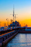 Sopot pier at dawn. Sunrise at the wooden pier (molo) in Sopot, Poland royalty free stock photos