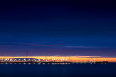 Sopot pier at night. Sopot pier at cloudy night. Side view. Sopot, Poland stock photo