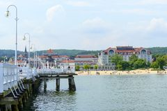 Sopot pier. Tourists enjoy the sunny weather and walking along the pier on 26 May 2018 in Sopot, Poland stock images