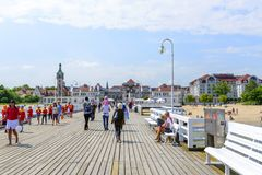 Sopot pier. Tourists enjoy the sunny weather and walking along the pier on 26 May 2018 in Sopot, Poland stock photos