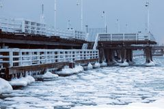 Sopot pier in winter scenery. Sopot, Pomerania, Poland royalty free stock images