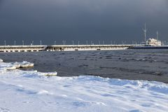 Sopot pier in winter scenery. Sopot, Pomerania, Poland royalty free stock image