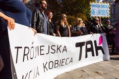 Sopot, Polônia, 2016 09 24 - proteste contra a lei FO do anti-aborto Fotografia de Stock Royalty Free